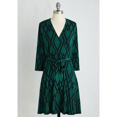 Mid-length 3 A-line Wrap of Luxury Dress (1 185 SEK) ❤ liked on Polyvore featuring dresses, green wrap dress, green mid length dress, mid length black dress, belted dress and black faux wrap dress