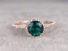 7mm Treated Emerald Engagement ring Rose gold,Diamond wedding band,14k,Round Cut,Gemstone Promise Bridal Ring,Halo,Anniversary by popRing on BBBGEM