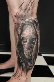 Skeleton Skull Design on Men Leg Tattoo