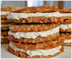 NO WAY! I was just wondering today if I could make Oatmeal Cream Pies  myself, and lo and behold here's a recipe.