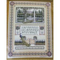 Teresa Wentzler ENGLISH GARDEN SAMPLER Cross Stitch Kit Peacocks ABCs 123 Beads by NeedleLittleTherapy on Etsy Just Cross Stitch, Cross Stitch Kits, Crewel Embroidery Kits, Vintage Cross Stitches, Abcs, Peacocks, Linen Fabric, Hand Sewing, Vintage World Maps