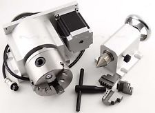 CNC Fresado Router Rotational Rotary Axis, A-axis, 4th-axis,3-Jaw + Tail stock