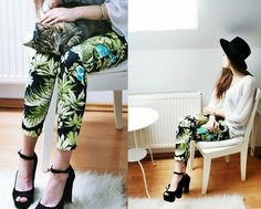 Zara Floral Pants, Zara Platforms, Secondhand Shirt, Hat