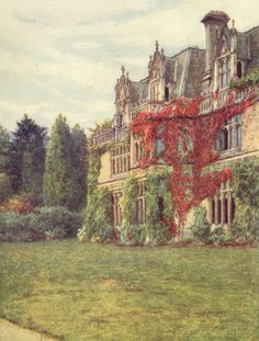 Helen Allingham - her painting of Aldworth House, in Blackdown, Sussex. It was built for Alfred Lord Tennyson in from designs by his friend J. French and English Gothic. Mary Elizabeth, Victorian Castle, Victorian Era, Ile De Wight, Alfred Lord Tennyson, Fairy Statues, Cottage Art, Old Paintings, House Paintings