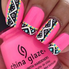 bright pink summer nails