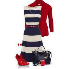 red white & blue -the stars over u outfit. - I Love Fashion Fashionista Trends, Mode Outfits, Fashion Outfits, Womens Fashion, Fashion Trends, Chic Outfits, Work Fashion, Fashion Looks, Marine Look