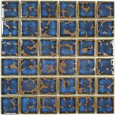 "Regency  2"" x 2"" Series, 2"" x 2"", Antique, Glossy, Blue, Porcelain"