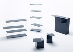 """Slide is a minimalist design created by Japan-based designer Nendo. A collection of shelves and tables that express a """"slide"""" of position by focusing on the technology that bonds glass to glass. Glass Bookcase, Glass Shelves Kitchen, Glass Furniture, Furniture Design, Nice Furniture, Nendo Design, Italian Furniture Brands, Table Shelves, Slide"""