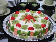 Strawberry-Kiwi Cake . My mom made this it's awesome !