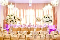 Flowers, White Flowers, Centerpieces, Gold chairs, Table settings, reception, wedding, pink lighting, chandeliers, elegant weddings, wedding reception ideas, Tre Bella AZ, Tre Bella