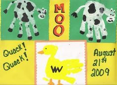 Handprint and Footprint Arts & Crafts: Farm Animal Handprints ~ Duck and Cow