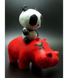 Panda Riding A Hippo by Cacooca