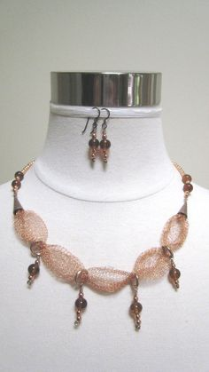 Amber+and+Copper+with+Wire+Knitz+mesh+Necklace+&+by+RoweStudio,+$65.00