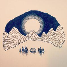 #alone #art#illustration #mountains #moonlight#camping #nature #wildlife #meditation #spiritual