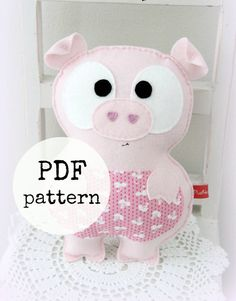 Felt pig toy pattern, farm animal, PDF pattern