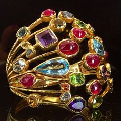 Beautiful detail and colour in this bold cuff. In-store now. Peridot, Amethyst, Ear Rings, Gem S, Blue Topaz, Gold Rings, Branding, Brooch, Mood