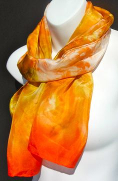 Orange Cream SILK SCARF Hand Painted Silk by SilkScarvesJoanReese, $70.00