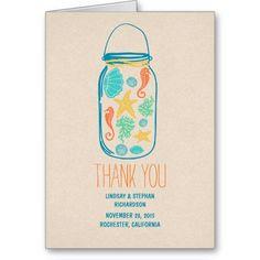 Seaside seashells mason jar wedding thank you card card