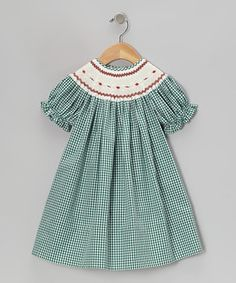 Another great find on #zulily! Green Gingham Rose Bishop Dress - Infant, Toddler & Girls by Rosalina #zulilyfinds