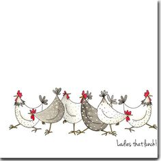 Amusante carte de voeux poulet - dames que déjeuner ! -Blanc à l'intérieur, d'anniversaire