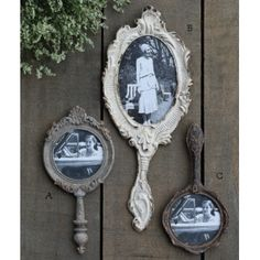 New vintage style hand mirror photo frames! Easy to mix and match, use them in a grouping with other different types of frames or hang one just by itselfsimple vintage style. $18 https://www.acottageinthecity.com