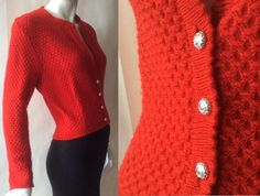 Vintage Austrian wool sweater jacket, in lovely scarlet red three dimensional honeycomb knit with bright silvery embossed buttons, medium by afterglowvintage on Etsy