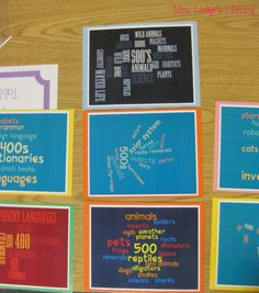 Dewey Word Clouds......I soo want the kids to do this project for me to display in my nonfiction area!!!