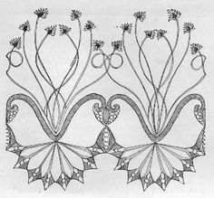 Agnes C Martin. Lace border design, 1896 (The Textile Blog)