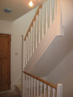 A softwood staircase for a loft conversion, painted white with feature pine handrail. A softwood staircase for a loft conversion, painted white with feature pine handrail. Loft Conversion Lighting, Loft Conversion Floor, Loft Conversion Bedroom, Loft Conversions, Stairs To Attic Conversion, Attic Loft, Loft Room, Bedroom Loft, Attic Office