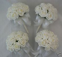 4 X Ivory Rose Posy Bouquets Bridesmaids Wedding Flowers Bridesmaid Bouquet Bride