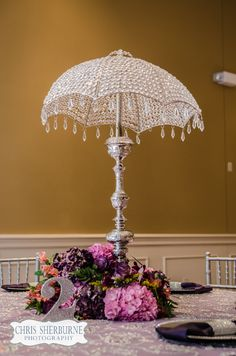 Crystal Balinese Umbrella Centerpiece with Plum florals Umbrella Centerpiece, Umbrella Decorations, Table Decorations, White Umbrella, Vintage Umbrella, Bridal Shower Centerpieces, Hanging Crystals, Balinese, Red And White