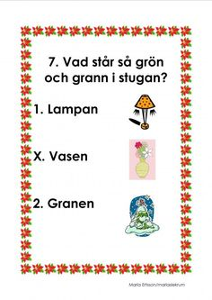 Mariaslekrum - Illustrerade frågeslingor. Educational Activities For Kids, Winter Project, Teaching Materials, App Design, Christmas Crafts, Crafts For Kids, Preschool, December, Sink Tops