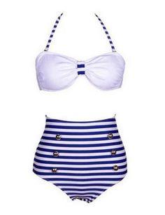 Damen Bikini-Sets Retro High Waist Bademode Badeanzug BK20: Amazon.de: Bekleidung
