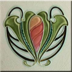 Art Nouveau Reproduction Decorative Ceramic Tile 6 X 6 inches Motifs Art Nouveau, Azulejos Art Nouveau, Motif Art Deco, Antique Tiles, Vintage Tile, Antique Art, Art Nouveau Tiles, Art Nouveau Design, Craftsman Tile