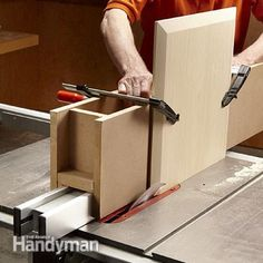 Cut bevels in the top of the Rennie Mackintosh side table. - Simple Rennie Mackintosh End Table Plans: http://www.familyhandyman.com/woodworking/projects/simple-rennie-mackintosh-end-table-plans/view-all