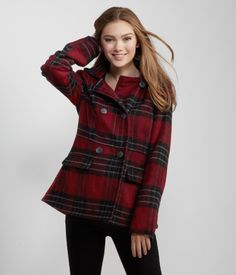 "When it comes to preppy outerwear, our Plaid Hooded Pea Coat is at the top of its class! It boasts a timeless print, two hand pockets and a traditional button front.<br><br>Relaxed fit. Approx. length: 28""<br>Style: 0575. Imported.<br><br>Shell: 66% polyester, 19% acrylic, 7% rayon, 4% wool, 4% other fibers.<br>Lining: 100% polyester.<br>Dry clean only.<br><br>Model info: Height: 5'8.5"" 