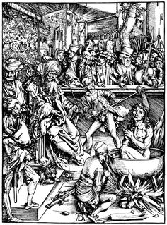Artist: Dürer, Albrecht, Title: Illustration zur »Apokalypse«, Szene: Das Martyrium des Hl. Johannes, Date: ca. 1496 - 1498