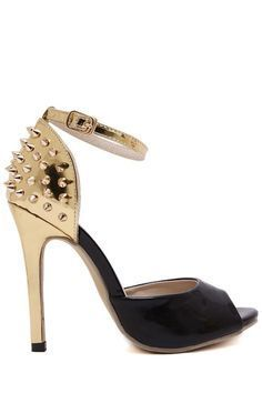 Black and gold spiked heels #heels #shoes