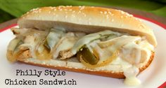 Philly Style Chicken Sandwich - Simple and frugal crock pot recipe