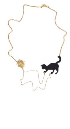 Adorable! Cat playing necklace - black acrylic silhouette of a cat playing with wool. by lilianadesign. #Jewelry