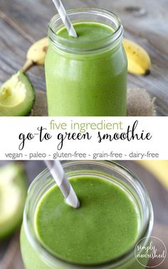This is our go-to green smoothie with only five ingredients and packed with nutrients. Kick-start your day with this creamy, go-to green smoothie. Easy Healthy Smoothie Recipes, Healthy Green Smoothies, Easy Smoothies, Green Smoothie Recipes, Fruit Smoothies, Breakfast Smoothies, Heathy Drinks, Making Smoothies, Protein Smoothies