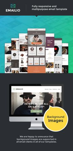Emailio Responsive Multipurpose Email Template With Online Email Builder • Download theme ➝…