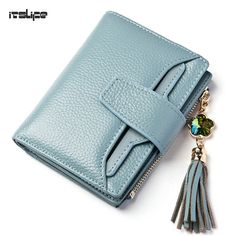 14.63$  Watch here - http://alihy3.shopchina.info/go.php?t=32740045512 - New arrival women's genuine leather short wallet tassel zipper purse with removable card holder Trifold coin pocket girl wallet  #magazineonline