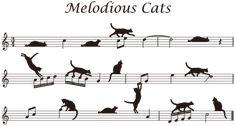 五線譜の上の猫
