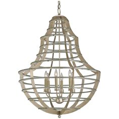 Currey and Company Everest Silver Leaf Chandelier 9619