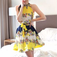 Yellow Floral Pleated Halter Chiffon Women Mini Dress