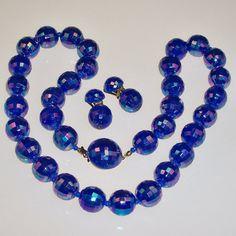 Vintage Necklace Set Iridescent Blue Beads Austria by 4dollsintime, $24.50