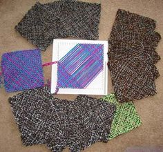 Squares woven diagonaly on a homemade nail loom