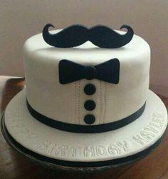 Black & White Mustache Cake