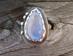 Tabasco Geode Ring in Sterling silver with Patterned band and bead accents.  Unique mini geode ring. by LoMoStudio on Etsy